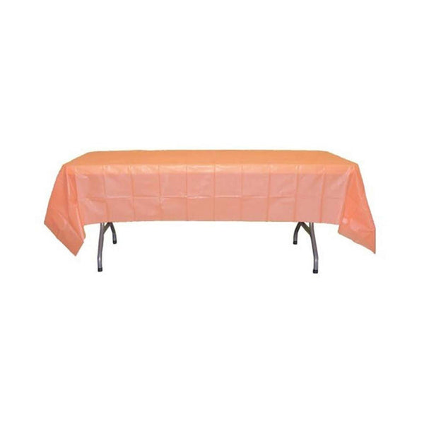 Plastic Disposable Table Cover - Peach - Rectangle - 54in. x 108in.