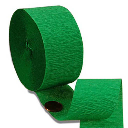 1 3/4in. X 70 ft. Green Crepe Paper Streamer - Pack of 2 Streamer Rolls (pm6165060a)