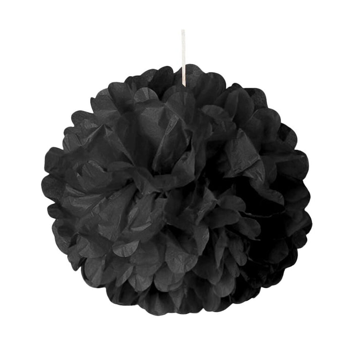 Large Black Poms | Black Ceiling Decor | Black Tissue Paper Pom Poms - 8in. - 5 Pieces/Pkg. (pm892310820)