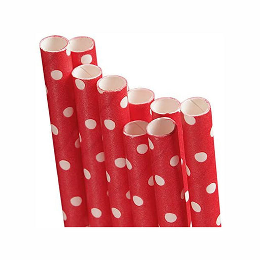 Red Polka Dot Paper Straw - Length 7 3/4in., Diameter 1/4in. - 10 Count (pm9685230)