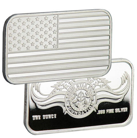Limited Edition .999 Pure 1 Oz. Chris Kyle Frog Foundation Silver Bar (Flag/Foundation Logo)