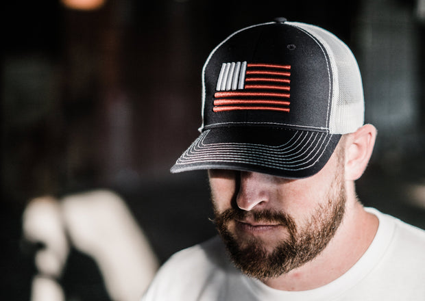 Signature 3D Flag Mesh Snapback Hat - Navy/Red/White