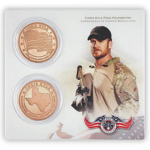 Limited Edition One Ounce Chris Kyle Frog Foundation 2-Coin Pure Copper Commemorative Medallion Collectible