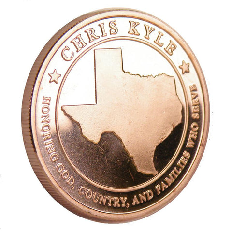 Limited Edition .999 Pure 1 Oz. Chris Kyle Frog Foundation Copper Commemorative Coin (Texas)