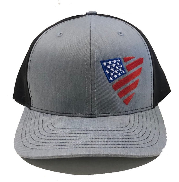 Full Color Flag Shield Snapback - Heather Grey/Black Hat Chris Kyle Frog Store