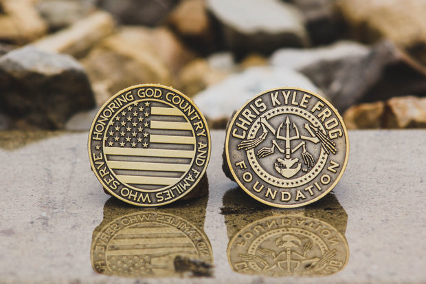 CKFF Challenge Coin - Antique Gold Coin Chris Kyle Frog Store