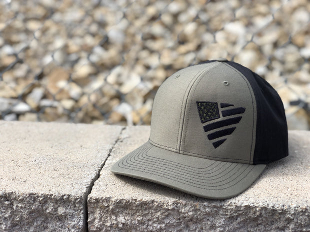 Tonal Flag Shield Snapback - Military Green / Black Hat Chris Kyle Frog Store