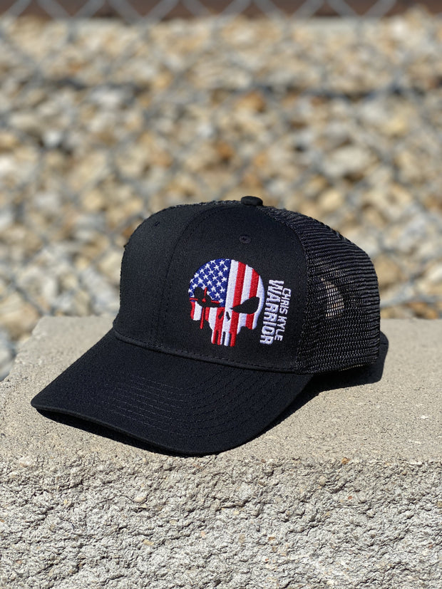 AMERICAN FLAG WARRIOR SnapBack Hat - Black Hat Chris Kyle Frog Store