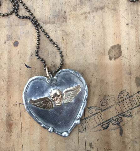 Rustic Style Heart with skull and wings