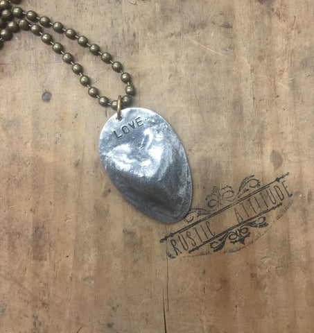 Rustic Style Spoon Pendant w/puffy heart