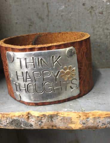 Think Happy Thoughts Leather Bracelet