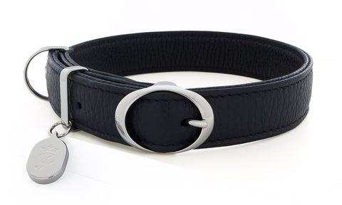 Pantofola Italian luxury leather dog collar in Liquirizia, Medium