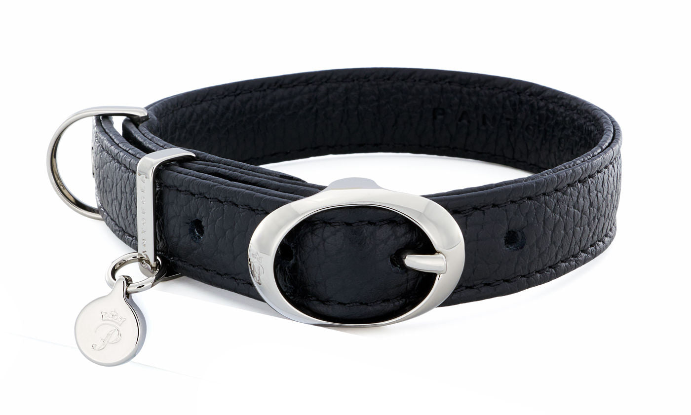 Pantofola Italian luxury leather dog collar in Liquirizia, Small