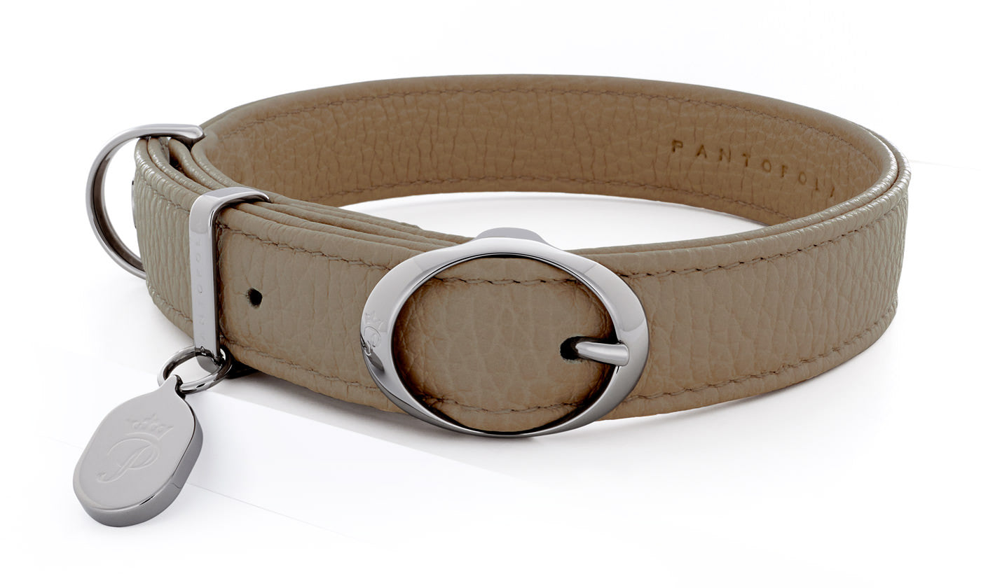 Pantofola Italian luxury leather dog collar in Tartufo, Medium