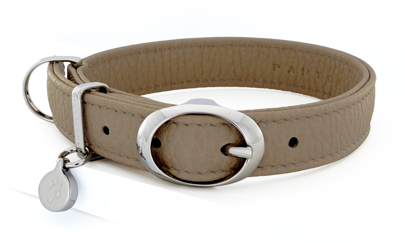 Pantofola Italian luxury leather dog collar in Tartufo, Small