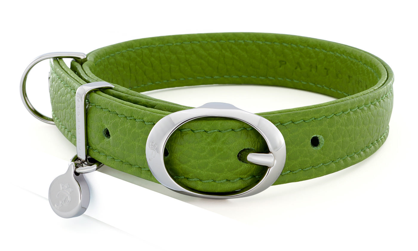 Pantofola Italian luxury leather dog collar in Pistacchio, Small