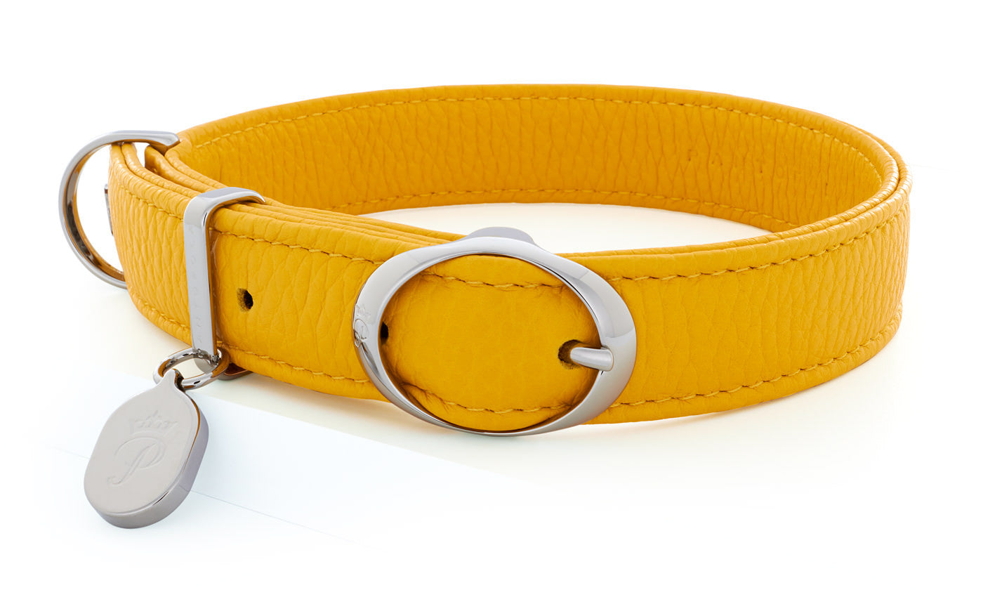 Pantofola Italian luxury leather dog collar in Limone, Medium