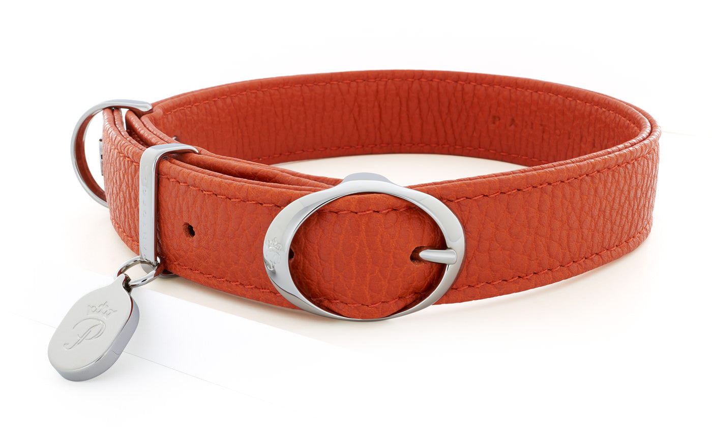 Pantofola Italian luxury leather dog collar in Tarocco, Medium