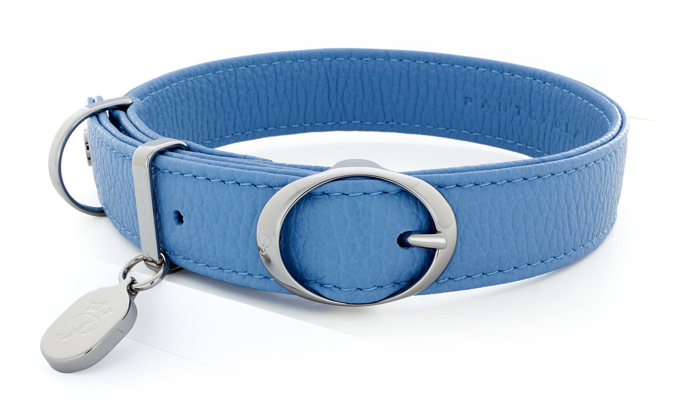 Pantofola Italian luxury leather dog collar in Cielo, Medium