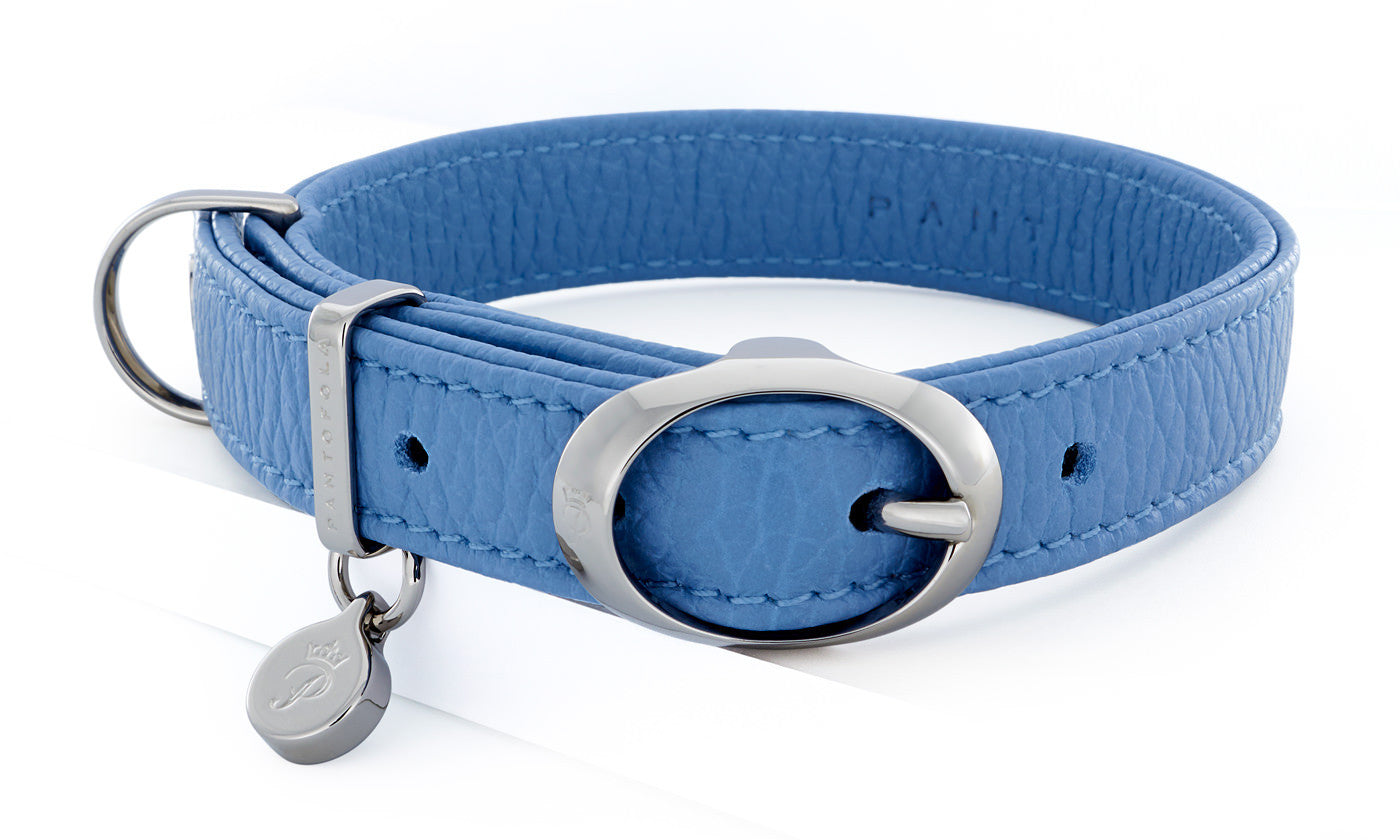Pantofola Italian luxury leather dog collar in Cielo, Small