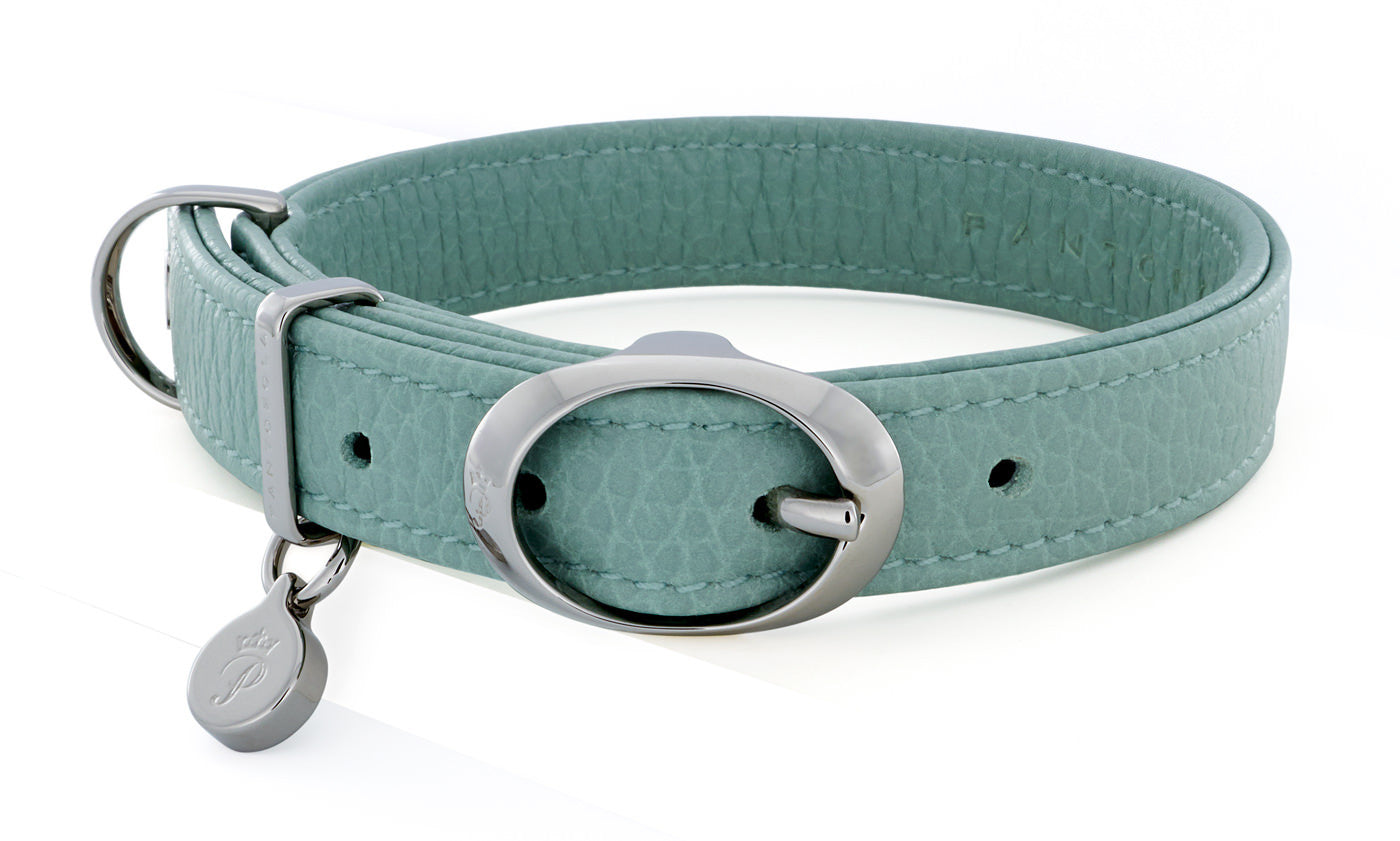 Pantofola Italian luxury leather dog collar in Celeste, Small