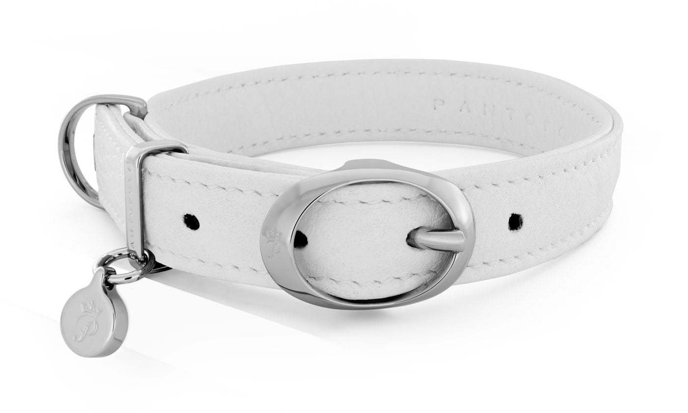 Pantofola Italian luxury leather dog collar in Neve, Small
