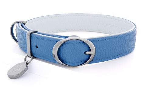 Pantofola Italian luxury leather dog collar in Cielo / Neve, Medium