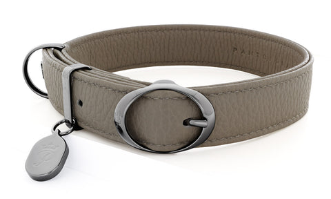 Pantofola Italian luxury leather dog collar in Luna, Medium