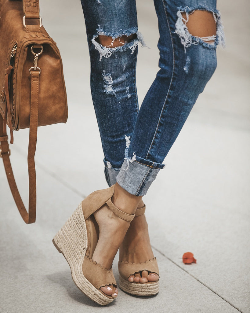 Scalloped Espadrille Wedge - Camel