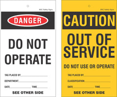 Danger and Caution Equipment Lockout Tags