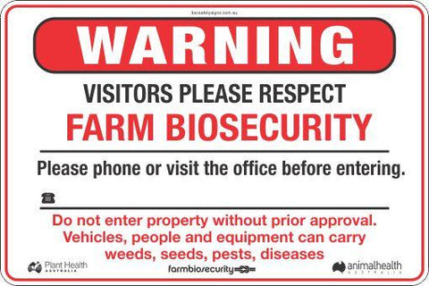 Warning Visitors Please Respect Farm Biosecurity Safety Signs and Stickers