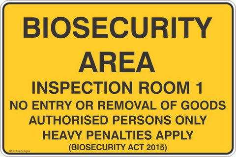 Biosecurity Area- Inspection Room 1 Safety Signs & Stickers