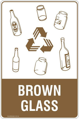 Brown Glass Recycling Signs and Stickers