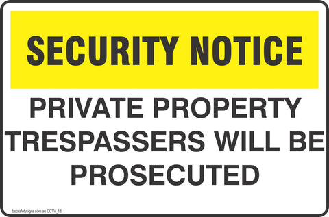 CCTV and Security Private Property Trespassers will be Prosecuted Safety Signs and Stickers