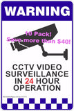 (10 Pack) CCTV Video Surveillance In 24 Hour Operation Plastic Signs A4 Size