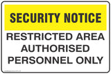 CCTV and Security Restricted Area Authorised Personnel Only  Safety Signs and Stickers
