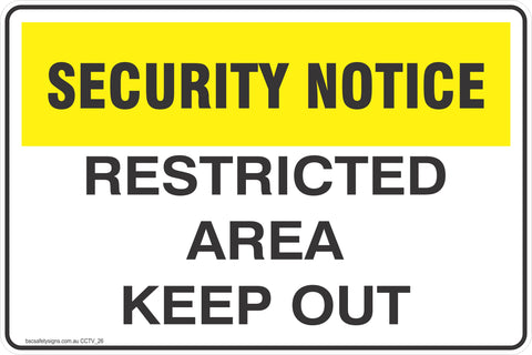 CCTV and Security Restricted Area Keep Out Safety Signs and Stickers
