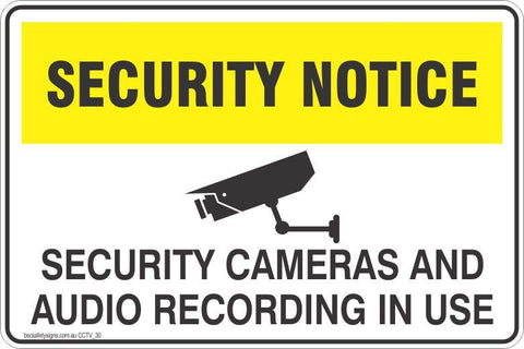 CCTV and Security Security cameras and audio recording in use Safety Signs and Stickers