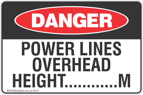 Power Lines Overhead Safety Sign