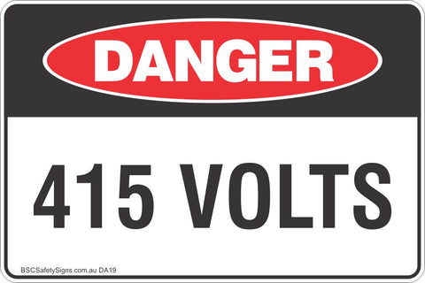 415 Volts Safety Sign