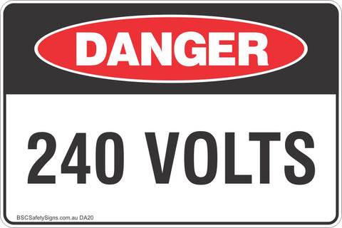 240 Volts Safety Sign