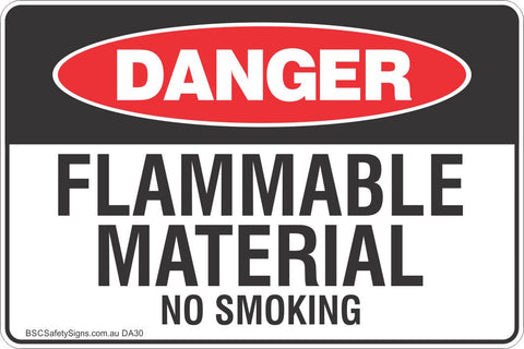 Flammable Material No Smoking Safety Sign