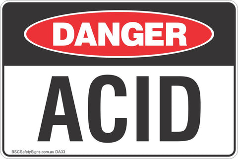 Danger Acid Safety Sign