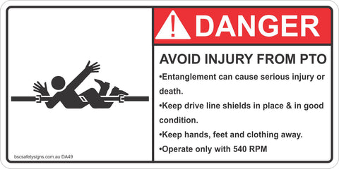 Danger Avoid Injury From PTO Safety Sticker