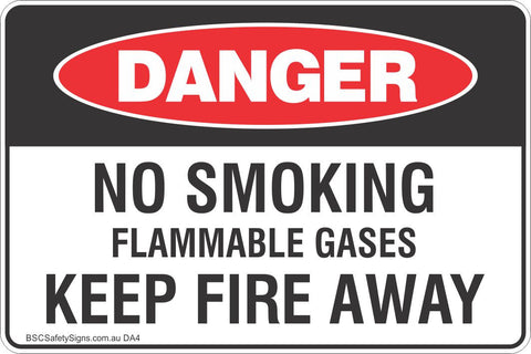 No Smoking Flammable Gases Keep Fire Away Safety Sign