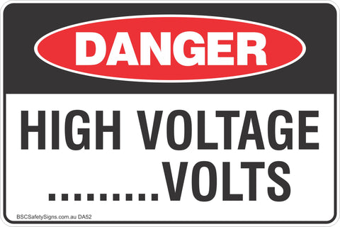 High Voltage .......Volts Safety Signs & Stickers