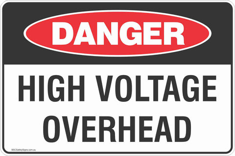 Danger High Voltage Overhead Safety Signs and Stickers