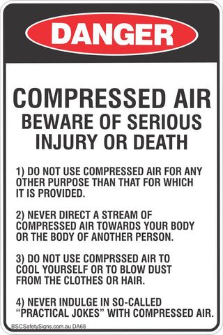 Danger Compressed Air  Safety Signs and Stickers