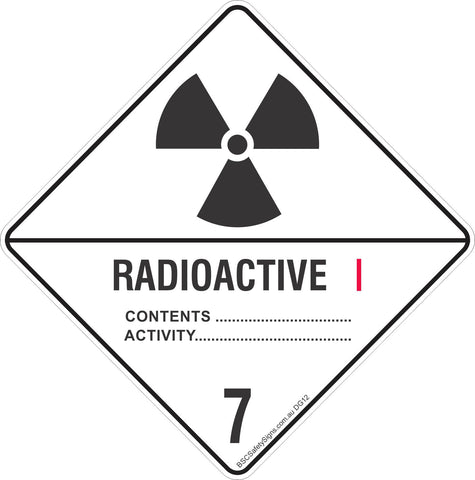 Radioactive 7 Category I Safety Signs & Stickers & Placards