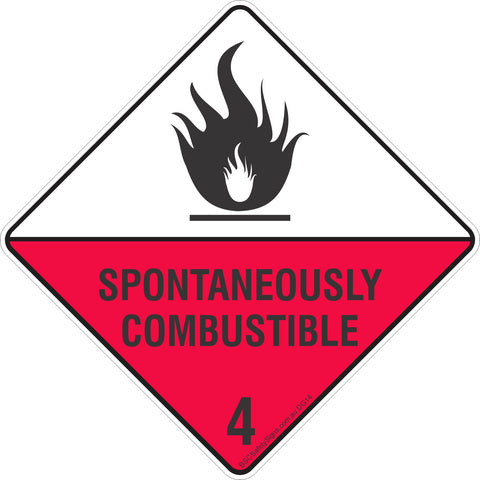 Spontaneously Combustible 4 Safety Signs & Stickers & Placards